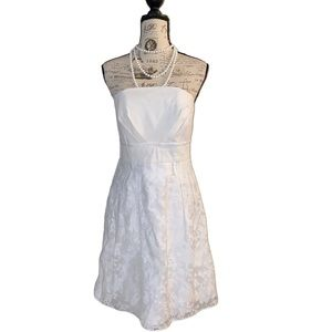 Ivory linen and lace dress
